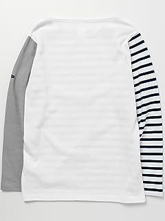 Crazy Pattern Boatneck Shirt 51-14-0138-012: Blue / Grey / White