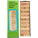 TOWO Wooden Stacking Tower with Wooden Number Blocks - Wooden Stacking Sorting Game Math Toys - Stacking Wooden Blocks Tower