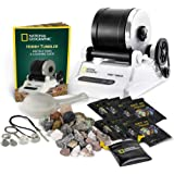 NATIONAL GEOGRAPHIC Hobby Rock Tumbler Includes 1lb Rough Gemstones, 4-Stage Polishing Grit, Strainer Jewelry Fastenings & Le
