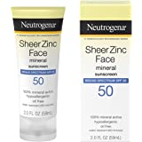 Neutrogena Sheer Zinc Oxide Dry-Touch Face Sunscreen with Broad Spectrum SPF 50, Oil-Free, Non-Comedogenic & Non-Greasy Miner