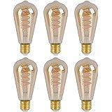 SD LUX Edison Light Bulb E27 Socket, Dimmable, 6 W, 2200 K, Warm White, 230 V, ST64 Amber Glass, Antique Filament Lighting in