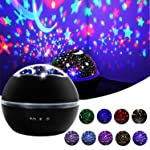 Star Night Light, Cre-Heaven Baby Night Light Star Moon Rotating Projector Bedside Lamp Color Changing Timer Setting for...