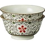 Ciya JP08B/2 Red Blossom Porcelain Curve Outward Bowl, 2 Piece, 7 Inch