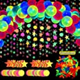 54 Pieces Glow Neon Party Supplies Decorations, Includes 25cm Neon Fluorescent Blacklight Birthday Balloons, 18m Black Light