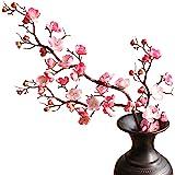 cn-Knight Artificial Flower 3pcs 37'' Super Long Stem Silk Plum Blossom Faux Japanese Apricot Fake Chinese Plum Flower for Ho
