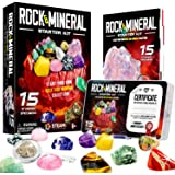 XXTOYS Kids Rocks Collection - 15-Piece Rock Collections for Kids - Cool Geology Gem Kit with Identification Sheet - Gemstone