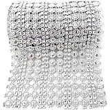 Honbay 4.5 inch x 2 Yards Sparkling Silver Flower Shape Diamond Mesh Wrap Roll Faux Crystal Rhinestone Mesh Ribbon for Weddin