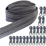 Zippers 10 Yards Nylon Coil Zipper by The Yard with 20pcs Zipper Sliders and Zipper Pull Zipper Repair Kit for DIY Sewing Tai