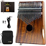 Moozica 17-Key EQ Kalimba, Koa Tone Wood Electric Finger Thumb Piano Built-in Pickup With 6.35mm Audio Interface (K17KEQ)