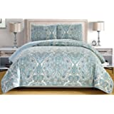 3-Piece Fine printed Oversize (115 X 95) Quilt Set Reversible Bedspread Coverlet KING SIZE Bed Cover (Pale Blue Grey Paisley)