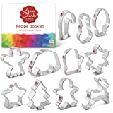 Ann Clark Cookie Cutters 11-Piece Christmas Cookie Cutter Set with Recipe Booklet, Snowflake, Christmas Tree, Candy Cane, Rei