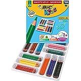 BIC Kids Evolution ECOlutions Triangular Colouring Pencils - Assorted Colours, Classpack Set of 144 Coloured Pencils Set Scho