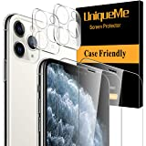 [4 Pack] UniqueMe 2 Pack Tempered Glass Screen Protector +2 Pack Tempered Glass Camera Lens Protector 9H Hardness for Apple i