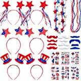 Adurself 72 Pieces Fourth/4th of July Party Accessories Patriotic Party Favor Supplies, Include 6 Head Boppers, 6 Bead Neckla