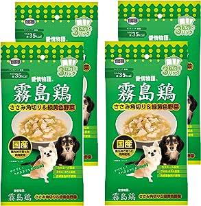 愛情物語 ドッグフード 霧島鶏 ささみ角切り&緑黄色野菜 210g(70g×3パック) X4個セット (まとめ買い)