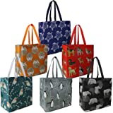 Lightweight Shopping Bags Animal Printing Recycling Grocery Totes Set of 6 Durable Shopper Baggies with Long Handle Portable