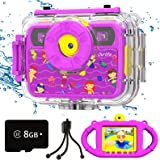Kids Waterproof Camera Gifts for Girls, 1080P 8MP HD Digital Video Camera with 2.4 Inch IPS Screen Dual Fill Lights, Children