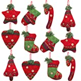 Aneco 12 Pieces Christmas Tree Decorations Rustic Christmas Stocking Decorations Burlap Tree Ornaments Hanging Decorations Ba