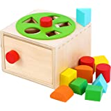 TOWO Wooden Shape Sorter - Sorting Box with Latch Lock - Rotating Wheel -Screw- and Shape Blocks- Sorting Cube Educational To