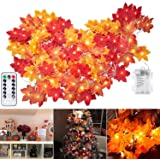 Brightown Fall Maple Leaf String Lights, 20Ft. 40 LED Battery Powered Harvest, Waterproof Orange Fall Garland Lights Decor fo
