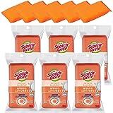 【Amazon.co.jp限定】 3M スポンジ キッチン キズつけない 抗菌 ハイブリッドネット オレンジ 6個 スコッチブライト HBNT