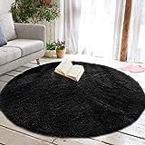 Junovo Round Fluffy Soft Area Rugs for Kids Room Children Room Girls Room Nursery,4 Feet,4-Feet (Black)
