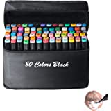 80 Color Dual Tip Art Marker Pen, Classic Series Alcohol Felt Permanent Markers, Animation Art Sketch Sketching Highlighting