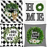 AOKDEER Magnolia Wreath Throw Pillow Covers Black and White Buffalo Check Plaid Welcome Home Double-Sided Square Farmhouse Pi
