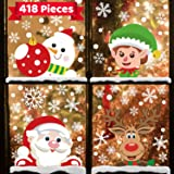 418 Pcs 10 Sheets Christmas Decorations Snowflake Window Clings Stickers for Glass,Christmas Décor Indoor Xmas Party Decals S