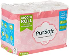 PurSoft Food-Safe Kitchen Towel, 60ct (Pack of 6) (Packaging may vary)