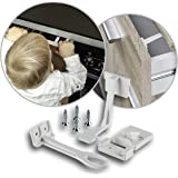Reer Cabinet and Drawer Locks with Finger Protection, White, 3 count
