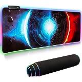 Findigit ゲーミングマウスパッド 大型マウスパッド 14モード 7色の発光色 RGB虹モード カラフル回転 明るさ調節可能 滑り止め 撥水加工 USBケーブル付属 ゲーマー向け 拡張マウスパッド 800X300X4mm