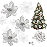 Whaline 24Pcs Silver Poinsettia Artificial Christmas Flowers with 24 Pack Clips, Glitter Christmas Tree Ornaments Xmas Weddin