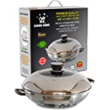 COOK KING 32cm/12.5inch Triply Stainless Steel Dual-Honeycomb Nonstick Wok/Stir Fry Pan with Glass Lid. PFOA Free