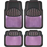 BDK Metallic Rubber Floor Mats for Car SUV & Truck - Semi Trimmable, 2 Tone Color Heavy Duty Protection(Pink/Black) - MT614PK