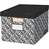 Bankers Box Decorative Storage Box with Lids, Black and White, 10pk (0035501)
