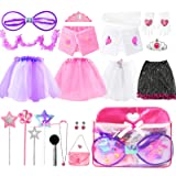 Sinuo Girl Dress Up Set, Princess Role Play Dress Up Trunk 21pcs Girls Popstar, Fairy, Princess, Bride Pretend Costumes Outfi