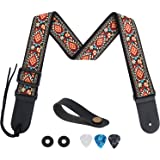 Tifanso Guitar Strap Jacquard Weave Guitar Strap with Genuine Leather Ends - Soft Adjustable Acoustic Guitar Strap for Electr