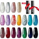 TOMICCA Gel Nail Polish Set Glitter Effect 18 Colors, Base Coat Top Coat UV Acryl Gel Nail Art Set Soak Off UV LED