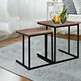 Artiss 2 Pcs Coffee Table Set | Industrial Space-Saving Nesting Side Table for Living Room Bedroom