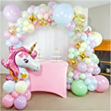 Shimmer and Confetti 133 Pack 16 Foot Premium Pastel Unicorn Balloon Arch and Garland Kit with Pink, Purple, Yellow, Green, B