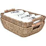 "StorageWorks Hand-Woven Wicker Baskets, Seagrass Decorative Baskets with Wooden Handles, Large, 14.6"" x 10.8"" x 4.9"", 2-Pack"
