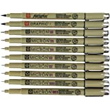 Sakura Pigma Micron 10 Fineliner pens Black Archival Ink Artist Drawing Sketch pens (003, 005, 01, 02, 03, 04, 05, 08), Graph