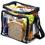 Smart House Inc Clear Lunch Bag with Adjustable Strap, Front Storage Compartment, and Mesh Pockets - See Through Zippered Cle