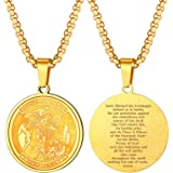 Men Women Personalized St. Michael Saint Christopher Necklace Stainless Steel/18K Gold Plated Round/Oval/Shield Patron Saint
