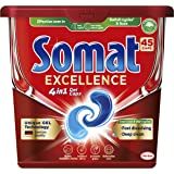 Somat Excellence 4-in-1 Dishwasher Capsules (45 Pack), Dishwashing Tablets for Efficient Cleaning Even in Eco and Short Cycle
