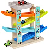 TOWO Wooden Car Ramp Toy- Zig Zag Car Slide with 4 Wooden Cars & Roof Top Car Park Playsets-Click Clack Track Wooden Car Toys