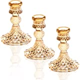 Q/A Glass Candle Holder - Gold Taper Candlestick Holders, Decorative Candle Sticks Set of 3, for Formal Events, Wedding, Chur
