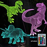 Dinosaur Toys Night Light - 3D Night Lamp with Three Patterns & Remote Control & Smart Touch+16 Colors Changing Dimmable, Bri