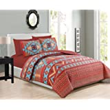 Western Southwestern Native Indian American 6 Piece Bedding Quilt Bedspread And Fitted Sheet Set NO FLAT SHEET In Turquoise R